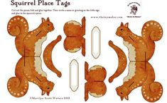 Squirrel Place Cards Papercraft - by The Toy Maker - Arranjo De Mesa Fall Crafts, Christmas Crafts, Crafts For Kids, Christmas Decorations, Paper Animals, Woodland Christmas, Up Book, Woodland Theme, Paper Models