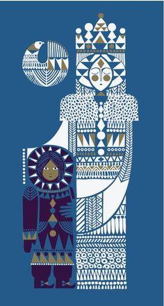 Copyright Sanna Annukka Artist, printmaker, and textile designer Sanna Annukka discusses her beautiful reworking of the Hans Christian Andersen classic The Snow Queen, with stunning illustrations. Art And Illustration, Graphic Design Illustration, Graphic Art, Art Du Monde, Scandinavian Folk Art, Arte Popular, Snow Queen, Grafik Design, Zentangle