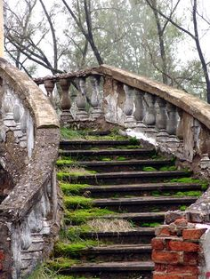 Crumbling staircase of an abandoned castle in Russia