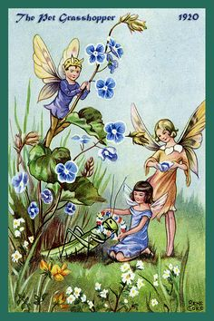 The Pet Grasshopper Fairies by Rene Cloke from the 1920s. Quilt Block of vintage fairy image printed on cotton. Ready to sew.  Single 4x6 block $4.95. Set of 4 blocks with pattern $17.95.