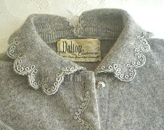 Vintage Dalton Cashmere Cardigan 1950s Grey Sweater with Rhinestone Buttons