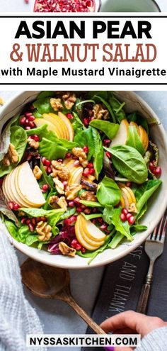This asian pear and walnut salad with maple mustard vinaigrette is fall salad DREAMS. Made with tender salad greens, thinly sliced asian pear, toasted walnuts, sweet pomegranate seeds, and a zippy maple mustard vinaigrette that you'll want to put on everything. Lunch Recipes, Healthy Dinner Recipes, Salad Recipes, Healthy Meals, Veggie Side Dishes, Healthy Side Dishes, Pear Walnut Salad, Clean Eating Salads, Asian Vegetables