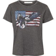 Eagle Flag Tee By Project Social T ($40) ❤ liked on Polyvore featuring tops, t-shirts, charcoal, retro tees, t shirts, women tops, print top and print tees