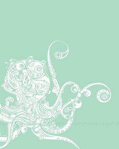 Octopus Art Print 5x7 8x1011x1413x19 please select by JellyPrints, $12.00