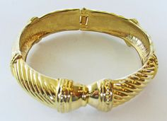 Attractive Vintage 1960s Gold Toned Cuff Bracelet by GildedTrifles