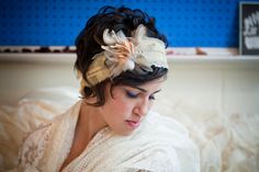Vintage Couture Headband Corsage With Glitter Wishbones & Feathers