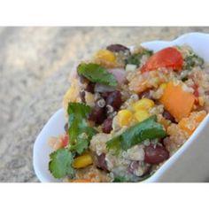 Quinoa makes a delightful grain salad when mixed with corn, black beans, tomato, fresh cilantro, and feta cheese.