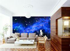 3D Milky Way Galaxy Blue 0 Wall Murals Wallpaper Decal Decor Home Kids Nursery