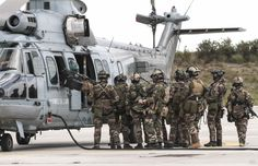 """23-27 Feb 2015,French air commando 20 (CPA 20) & sqdn 1/67 """"Pyrenees"""" on AB 120 Cazaux & region for training,""""Winter Mist 2015*"""". *""""Brume d'Hiver"""".Purpose to strengthen synergy between units,to implement skills of Quick Response Force,to train for survival in hostile zone,dropping behind lines or package near hostile zone.Program for week:shooting sessions,Rope Suspension Technique,day & night, adaptive combat exercises,urban combat exes,personnel recovery exes & ops from EC725 Caracal."""