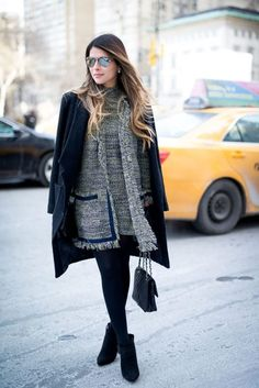 #tweed-coat-dress-winter-work-outfit-black-tights-coat-on-shoulders-booties-shower-party-office-to-out-the-