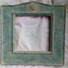 Bespoke mirror frame, distressed showing a verdigris effect by PeacheyDesigns on Etsy Aged Copper, Bespoke Design, Handmade Items, Handmade Gifts, Peaches, Craft Supplies, Bronze, Mirror, Frame