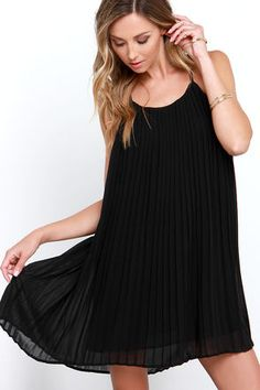 Lovely Black Dress - Pleated Dress - Shift Dress - $64.00
