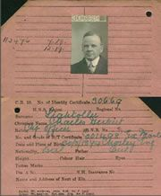 Seaman's registration card for Charles Herbert Lightoller. recording his Extra Master's certificate. He was Chief Officer on board the White Star Line ship Celtic in 1919 Catalogue reference: BT 350
