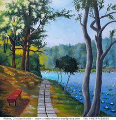 Pe malul Lacului cu Nuferi ( Lacul Mihai Eminescu – Ipotesti, Botosani ), 60 x 60 cm, ulei pe panza Pictor, Cristian Hartie