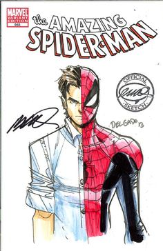 Amazing Spider-Man convention sketch by Humberto Ramos I like the Peter Parker alter ego verses the Bruce Wayne one.