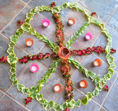 Deepawali rangoli with leaves from the garden.