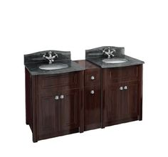The Burlington Granite Double Vanity Package.  #Bathrooms   #Mahogany or #Oak  Room for my stuff?