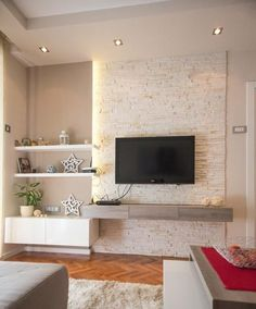 Simple and easy rules in modern living room decoration. Color palette for modern living room. Living Room Tv, Home And Living, Modern Living, Minimalist Living, Ideas Decoracion Salon, Plafond Design, Small Apartment Decorating, Contemporary Decor, Contemporary Building