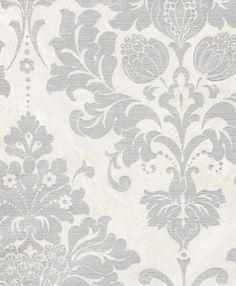 WALLPAPER - DAMASKS AND SCROLLS - SILVER AND GREY - Satin Silver Damask Wallpaper - Huge Savings and Inventory
