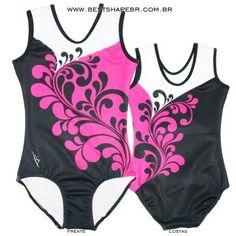 CS16 02 - Collant sublimado arabescos preto pink e branco