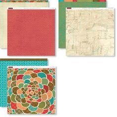 "12"" X 12"" Stella Paper Packet - $9.95 --  6 – 12"" × 12"" Cardstock Sheets (2 Cocoa, 2 Olive, 1 Lagoon, 1 Sunset)   6 – 12"" × 12"" B Duos® Papers (2 each of 3 double-sided designs)"