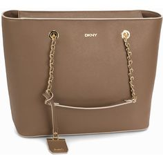 Dkny Bryant Park Lg Ew Shopper ($385) ❤ liked on Polyvore featuring bags, handbags, accessories, khaki, womens-fashion, brown purse, brown leather handbag, dkny, monogrammed leather purse and dkny purses