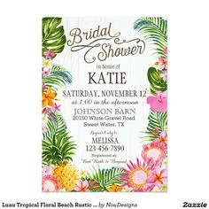 Luau Tropical Floral Beach Rustic Bridal Shower 5x7 Paper Invitation Card