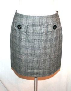 Michael Kors Black and White Houndstooth Wool Blend Mini Skirt