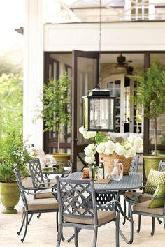 Outdoor dining area on backyard patio