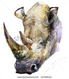 Rhinoceros. Rhinoceros watercolor. African animal hand drawn illustration. Rhinoceros watercolor background. Rhinoceros T-shirt print