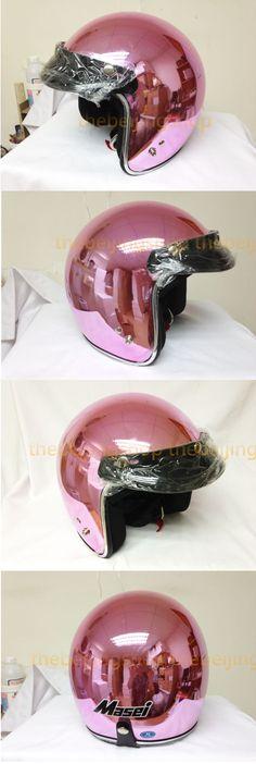 Chrome Pink Retro DOT Bobber bubble Motorcycle Helmet Harley-Davidson
