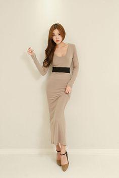 Color Waist Long Dress