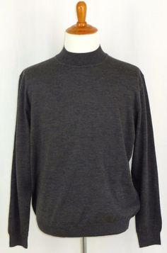 Mens Merino Wool Mock Neck Grey Sweater John Ashford Made in Italy XL #JohnAshford #Turtleneck