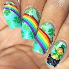 Easy Nail Art Designs 2018 - style you 7 Easy Nail Polish Designs, Simple Nail Art Designs, Nail Designs Spring, Easy Nail Art, Cute Nails, My Nails, Pretty Nails, St Patricks Day Nails, Saint Patricks