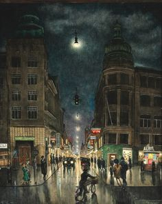 Harald Engmann (Danish, 1903-1968), Strøget [Main Street, Copenhagen], 1941. Oil on canvas, 50 x 40 cm.