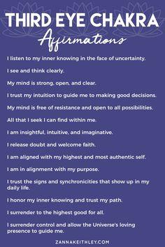 Healing Affirmations, Positive Affirmations Quotes, Affirmation Quotes, Ayurveda, Chakra Healing, Chakra Mantra, Third Eye Chakra, Spiritual Awakening, Third Eye Awakening