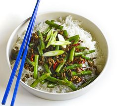 A cost-conscious Chinese-style meal for two with rich soy and pepper sauce, ginger, spring onions and sesame oil