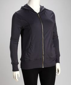 Take a look at this Gray Princess Seam Plus-Size Zip-Up Hoodie by Taffy on #zulily today!