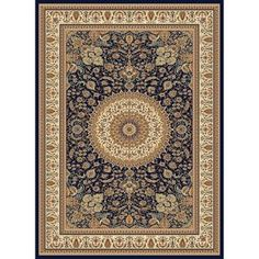 Concord Global Cyrus Rectangular Blue Floral Area Rug (Common: 8-ft x 11-ft; Actual: 7-ft 10-in x 10-ft 10-in)