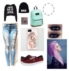 """""""back to school"""" by awmccoy ❤ liked on Polyvore featuring Vans, JanSport and Domo Beads"""