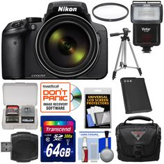"Nikon Coolpix P900 Wi-Fi 83x Zoom Digital Camera with 64GB Card + Battery + Case + Tripod + Filter + Flash + Kit. KIT INCLUDES 12 PRODUCTS -- All BRAND NEW Items with all Manufacturer-supplied Accessories + Full USA Warranties:. [1] Nikon Coolpix P900 Wi-Fi 83x Zoom Digital Camera + [2] Transcend 64GB SDXC 300x Card + [3] Battery for Nikon EN-EL23 +. [4] Vivitar SF-4000 Slave Flash + [5] Vivitar 67mm UV Glass Filter + [6] PD 50"" Compact Travel Tripod +. [7] PD PD-C25 Case with Rain Cover…"