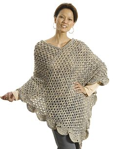 Perfect beginner crochet poncho: free pattern  Pic doesn't do this justice. The rev sc at the top adds intresting detailing and using 2 yarn colors at once makes it thick but fluffy. Very nice !