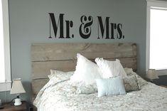 Small Version- MR & MRS Vinyl Decal- Master Bedroom Decor, Modern, Sophisticated, Wall Art. $24.00, via Etsy.
