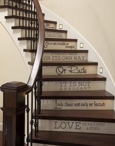 1 Corinthians 13 For Stairs; Almost makes me wish for stairs. then I remember how much it hurts to constantly tumble down the stairs, which is what happens when I live in a house with stairs. Farm Girl Style, Future House, My House, Cottage Stairs, Stairway Decorating, Cool Rooms, Staircases, My Dream Home, Diys