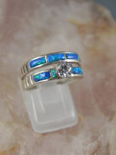 native american opal wedding ring set by hollywoodrings on etsy 14500