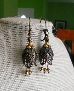 oO LACE FLOWERS Oo brass/copper filigree tulip earrings | eBay