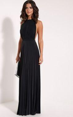 Lorelei Black Halterneck Pleated Maxi Dress - Found on prettylittlething.com