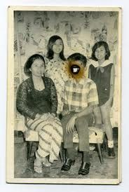 defaced family photo