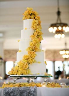 Photo of the Day: June 20 Yellow rose wedding cake. Wedding Cake Roses, Floral Wedding Cakes, Wedding Cake Designs, Wedding Cake Toppers, Wedding Themes, Wedding Flowers, Wedding Decorations, Yellow Wedding Cakes, Yellow Weddings