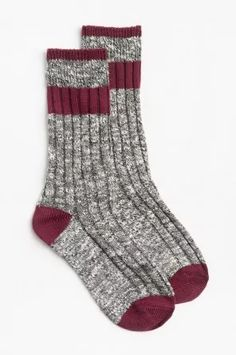 CABIN SOCK W/ WINE TOE/HEEL/STRIPES